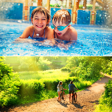 Children playing in pool above a picture of countryside with a couple pushing bicycles